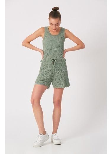 Robin Astarlı Triko Şort Mint Yeşil
